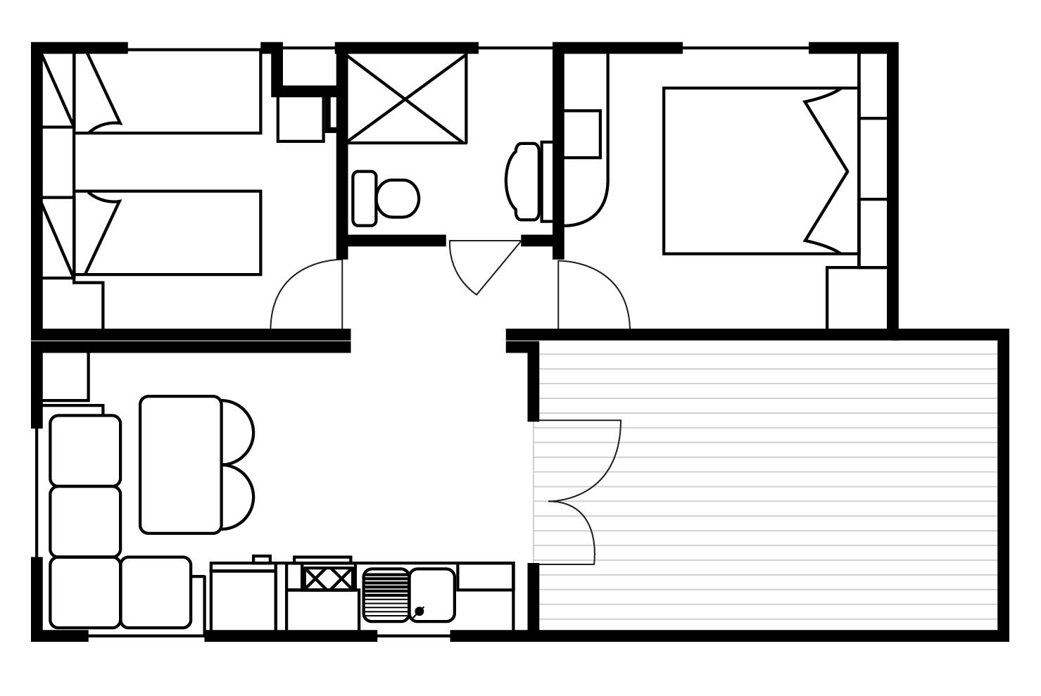 Plattegrond Luxe maxi-caravans met keuken en badkamer